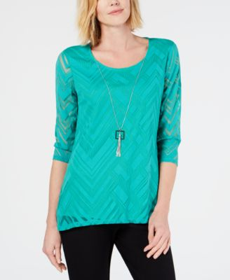 d64c9b548270e Petite Sheer-Overlay Removable-Necklace Top