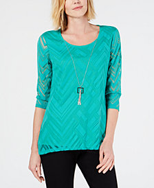 JM Collection Burnout Mesh Necklace Tunic, Created for Macy's