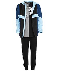 Ideology Big Boys Colorblocked Jacket, Spliced-Print T-Shirt & Jogger Pants, Created for Macy's