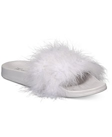 INC Women's Faux-Marabou Slide Slippers, Created for Macy's