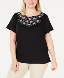 Karen Scott Petite Cotton Embellished Top, Created for Macy's
