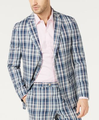 Men's Classic-Fit UltraFlex Stretch Madras Plaid Suit Jacket