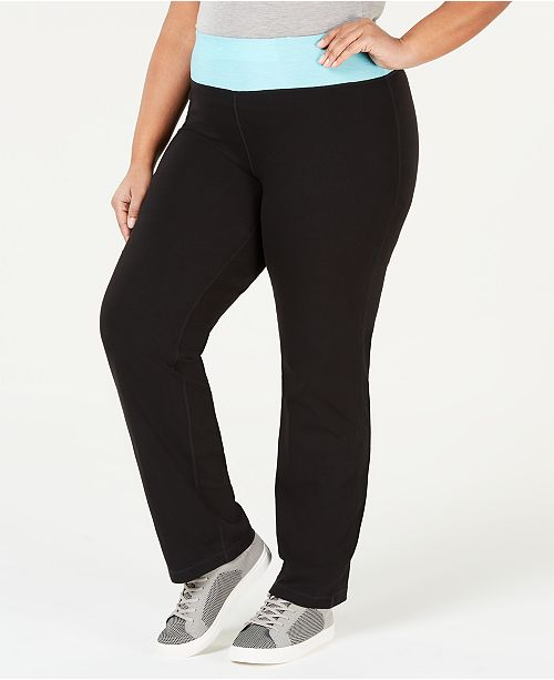 Ideology Plus Size Rapidry Open Leg Yoga Pants Created For Macy S