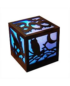 LumaBase Halloween Boo Light Wooden Lantern