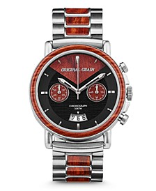 Mens Epoxy Rosewood Chronograph, Stainless Steel 44mm Watch