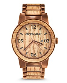 Mens Reclaimed Whiskey Barrel Wood, Espresso Stainless Steel 47mm Watch