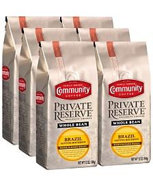 Private Reserve Brazil-Santos Medium-Dark Roast Specialty-Grade Whole Bean Coffee, 12 Oz - 6 Pack