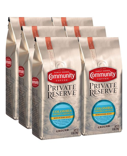 Community Coffee Private Reserve Colombia Toledo-Labateca Medium-Dark Roast Specialty-Grade Ground Coffee, 12 Oz - 6 Pack