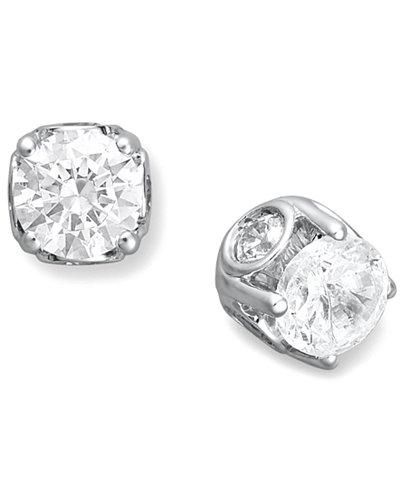 Diamond Spiral Bezel Stud Earrings in 14k White Gold (1/2 ct. t.w.)
