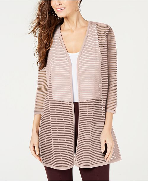 Alfani Petite Illusion-Stripe Cardigan, Created for Macy's