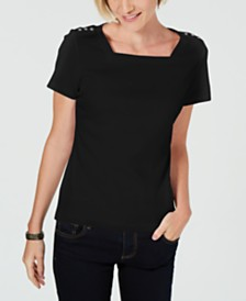 Karen Scott Petite Square-Neck T-Shirt, Created for Macy's