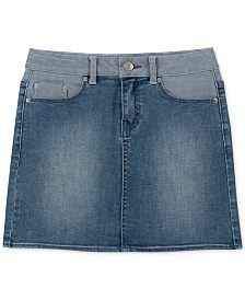 Calvin Klein Big Girls Colorblocked Denim Skirt