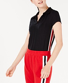 Juniors' Track Stripe Polo Shirt