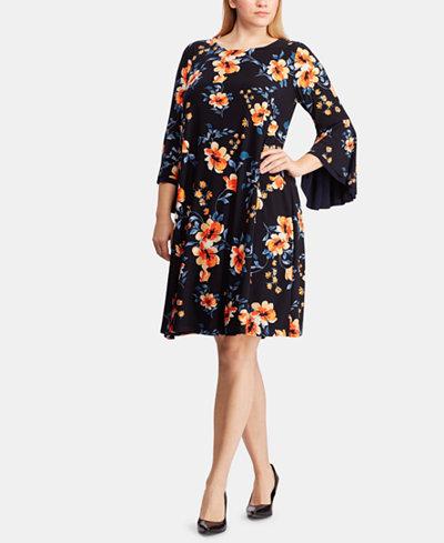 Lauren Ralph Lauren Plus Size Floral-Print Bell-Sleeve Dress