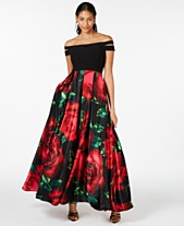 8afbf054e Blondie Nites Juniors' Double-Strap Off-The-Shoulder Floral-Skirt Gown