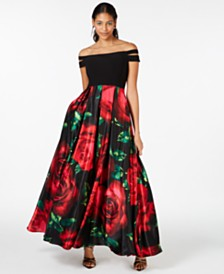 Blondie Nites Juniors' Double-Strap Off-The-Shoulder Floral-Skirt Gown