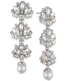 Marchesa Crystal & Imitation Pearl Cluster Linear Drop Earrings