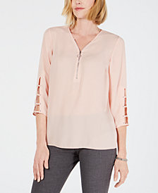 JM Collection Lattice-Sleeve Tunic, Created for Macy's