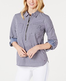 Tommy Hilfiger Gingham Cotton Zip-Up Top