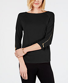 JM Collection Zipper-Sleeve Top, Created for Macy's