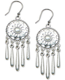 Lucky Brand Silver-Tone Imitation Pearl Openwork Disc & Fringe Drop Earrings
