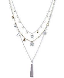 "Lucky Brand Two-Tone Crystal, Imitation Pearl & Chain Tassel Triple-Layer 20""/23""/29"" Charm Necklace"