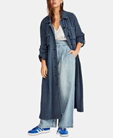 Free People Rainz Notched-Collar Roll-Tab Duster
