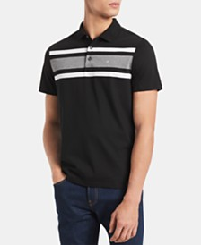Calvin Klein Men's Big & Tall Regular-Fit Colorblocked Liquid Touch Stripe Polo Shirt