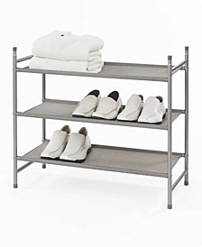 Harmony Twill Freestanding Stackable 3-Tier Shoe Rack