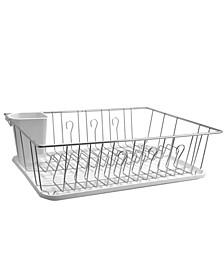 "17.5"" White Single Level Dish Rack with 14 Plate Positioners and Detachable Utensil Holder"