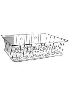 MegaChef 17.5 Inch White Single Level Dish Rack with 14 Plate Positioners and a Detachable Utensil Holder