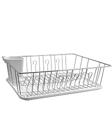 "MegaChef 17.5"" White Single Level Dish Rack with 14 Plate Positioners and Detachable Utensil Holder"