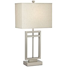 Brushed Steel Rectangle Table Lamp