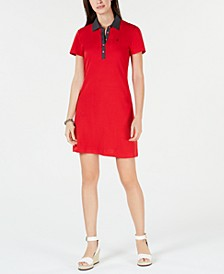Polka-Dot Collar Polo-Shirt Dress, Created for Macy's