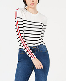 Hooked Up by IOT Juniors' Rib-Knit Striped-Sleeve Sweater