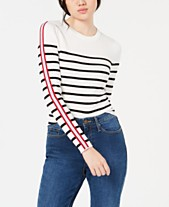 f23424370b Hooked Up by IOT Juniors  Rib-Knit Striped-Sleeve Sweater