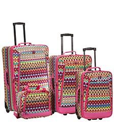 4PCE Tribal Softside Luggage Set