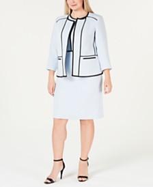 Kasper Plus Size Piped Crepe Jacket & Sheath Dress