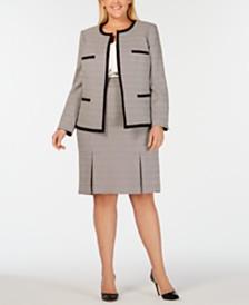 Kasper Plus Size Tweed Jacket, Skirt & Ruffled Blouse