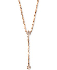 "Crystal Halo Lariat Necklace, 16"" + 3"" extender"