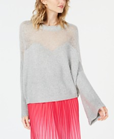 Line & Dot Heavenly Bell-Sleeve Mixed-Knit Sweater