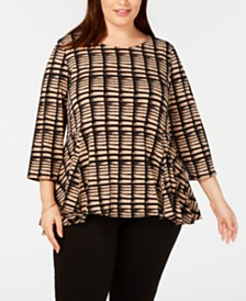 Alfani Plus Size Printed Peplum Top, Created for Macy's
