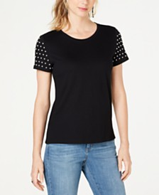 I.N.C. Faux-Pearl-Sleeve T-Shirt, Created for Macy's