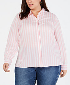 I.N.C. Plus Size Soft-Stripe Button-Up Shirt, Created for Macy's