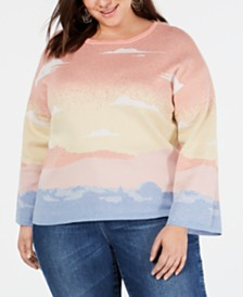 I.N.C. Plus Size Intarsia Pullover Sweater, Created for Macy's