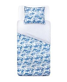 Tadpoles Twin 2 Piece Microfiber Duvet and Pillowcase Set, Shark