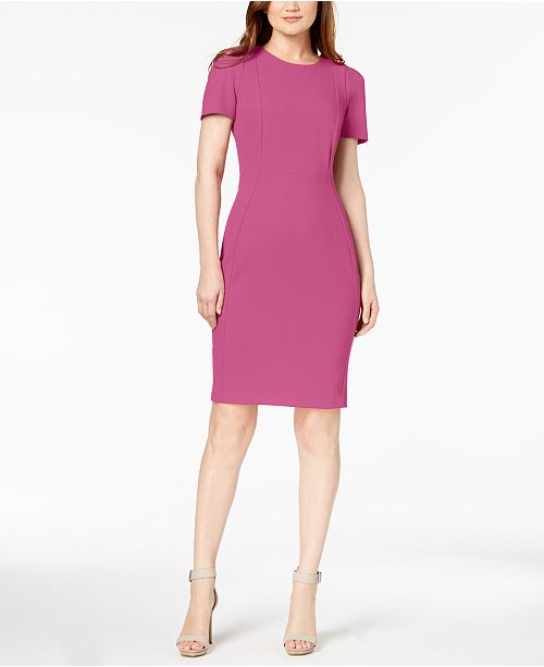 e641e7313ac20 Calvin Klein Seamed Scuba Crepe Sheath Dress   Reviews - Dresses ...