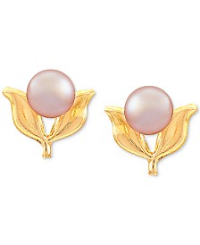 Children's Pink Cultured Freshwater Pearl (4mm) Leaf Stud Earrings in 14k Gold