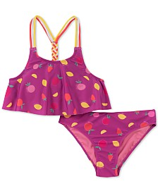 Calvin Klein Big Girls 2-Pc. Fruit-Print Flounce Bikini Swimsuit