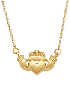 """Claddagh 17"""" Pendant Necklace in 10k Gold"""